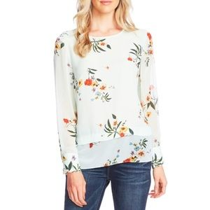 Vince Camuto Sheer Blouse Surreal Garden Size S